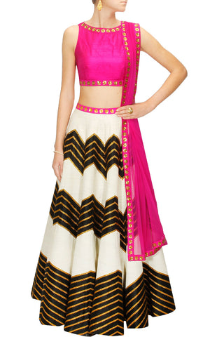 Ivory Colour Lehenga Set with Black Zig Zag Design