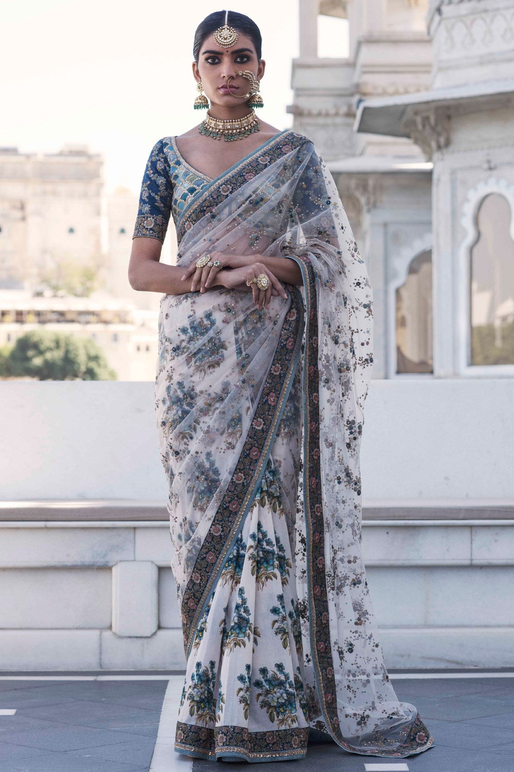 Ivory Printed and Embroidered Saree