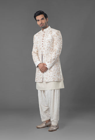 Ivory Color Embroidered Sherwani