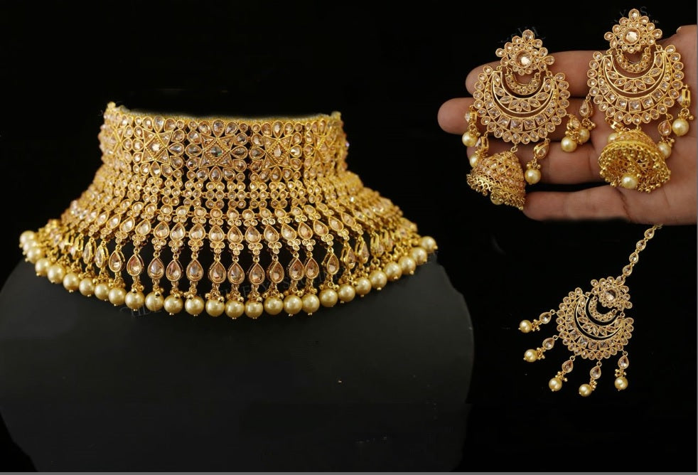 Sabyasachi Inspired Gold Color Kundan Polki Necklace