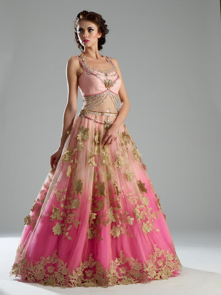 Pink color double shaded Indo Western Gown