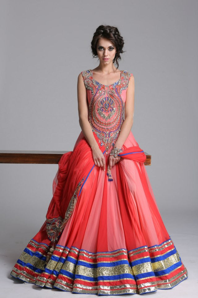 Shaded Peach color Indo Western gown