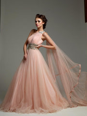 Peach Pink color Indo Western Gown