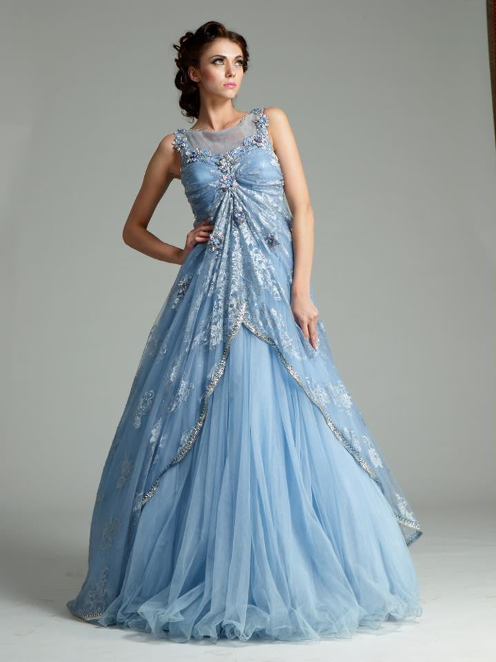 Sky blue color Indo Western gown – Panache Haute Couture