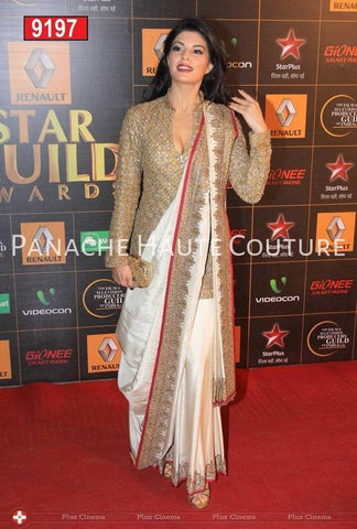 Jacqueline Fernandez in Ivory Color Designer Saree