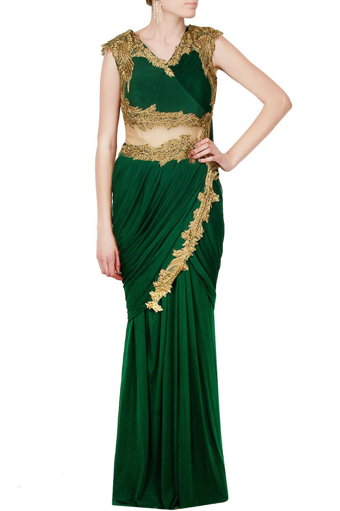 Green Color Saree Gown