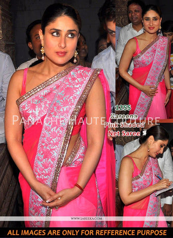 Kareena Kapoor in Pink Shaded Designer Sari Online