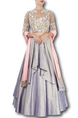 Lavender Color Double Layered Lehenga