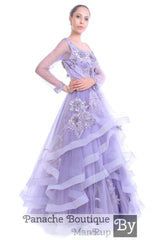 Lavender Color Ruffled Gown