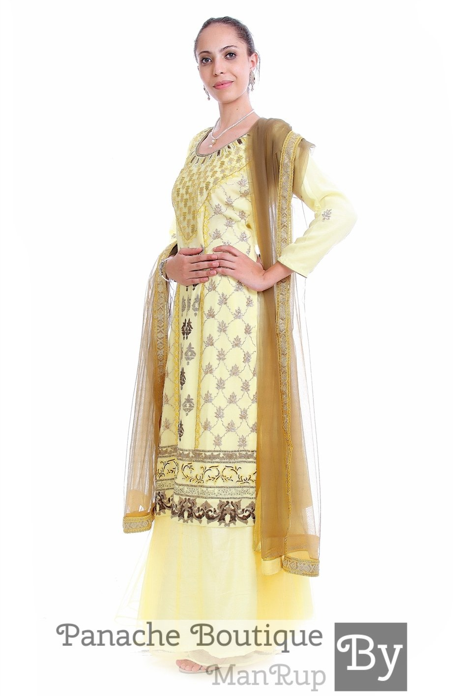 Lemon Colour Hand Embroidered Plazzo Set