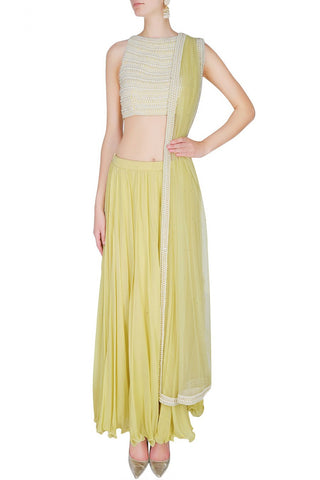 Lemon colour Indo Western Dress