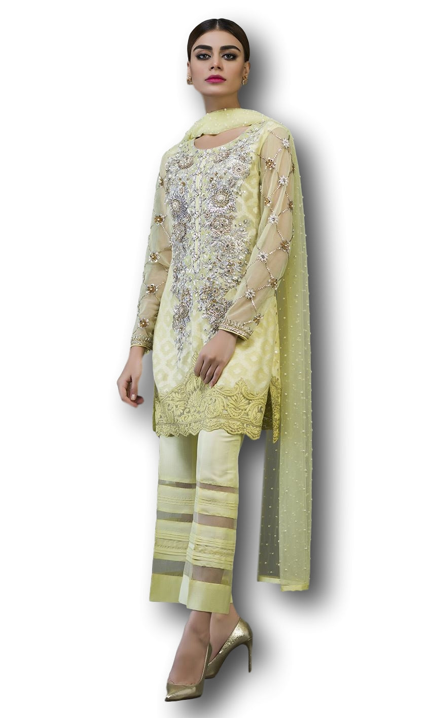 Lemon yellow Designer Salwar Kameez