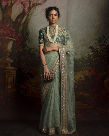 Mint Green Color Net Saree