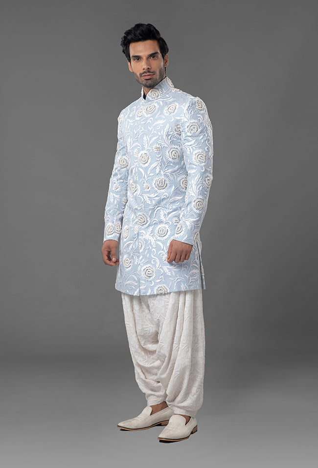 Light Blue Embroidered Sherwani