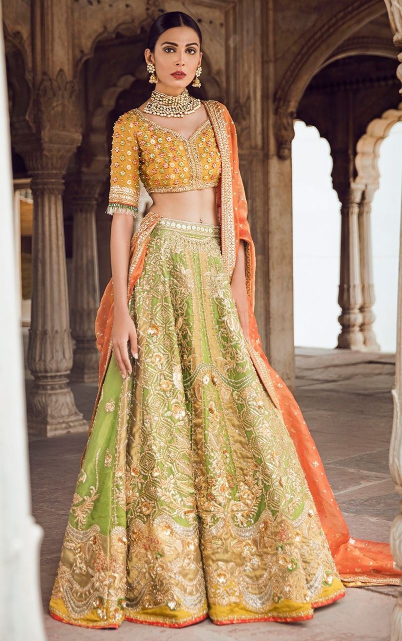 Light Green Mehendi Lehenga