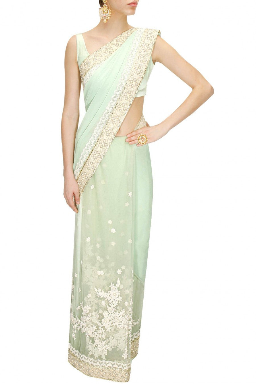 Light Green Designer Saree