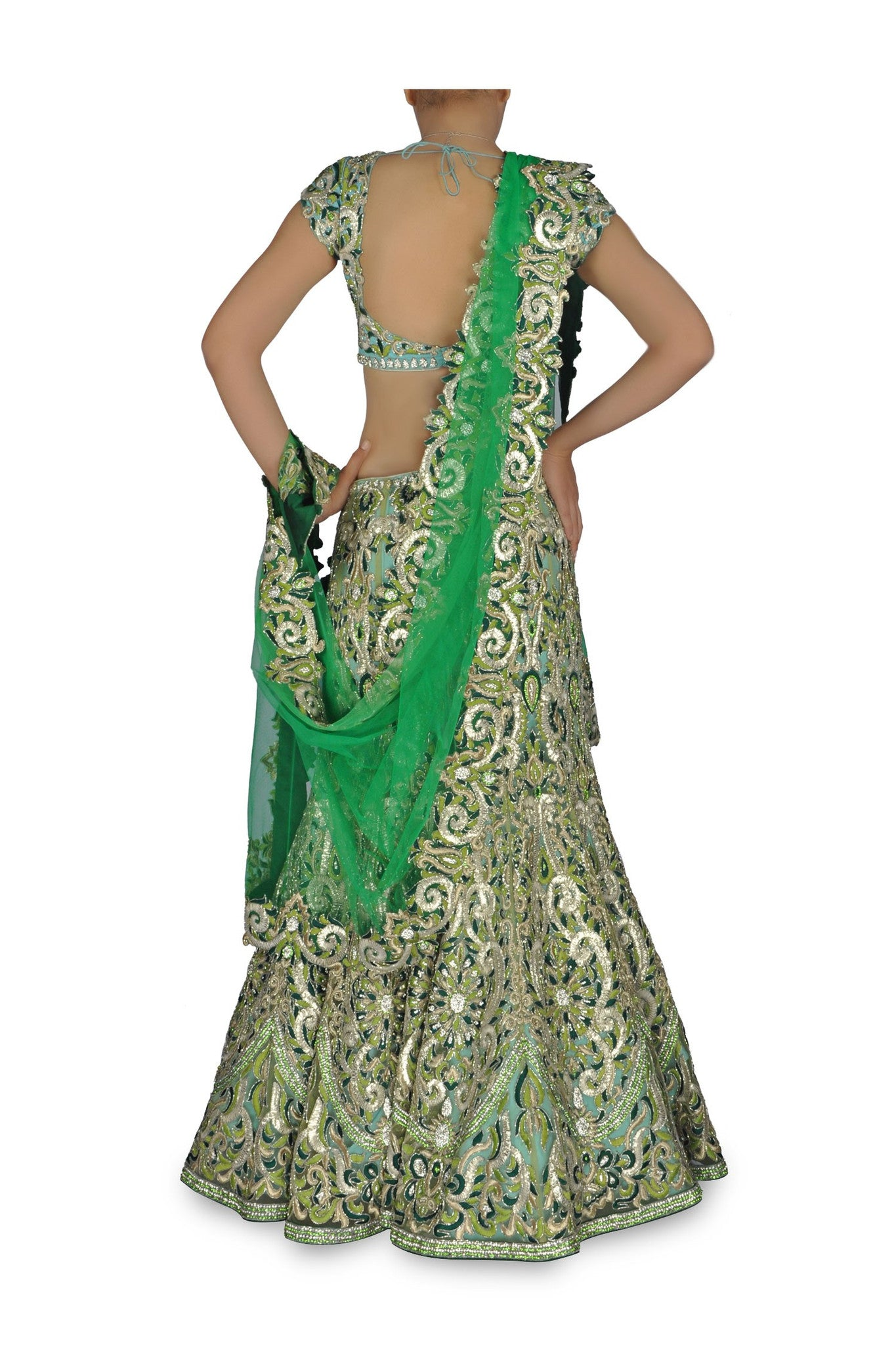 Light Green and blue dual shade chaniya choli
