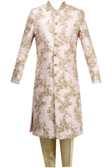 Light Pink Color Raw Silk Sherwani