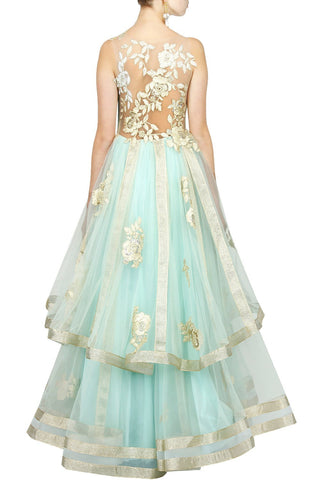 Light Blue color flared embroidered gown