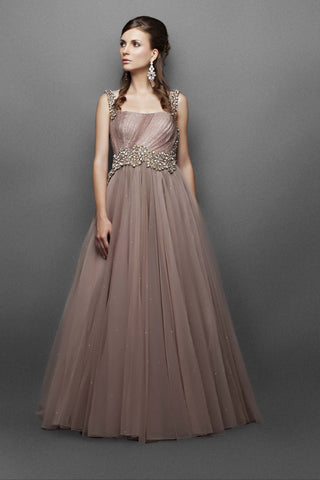 Light brown Indo Western Gown – Panache Haute Couture