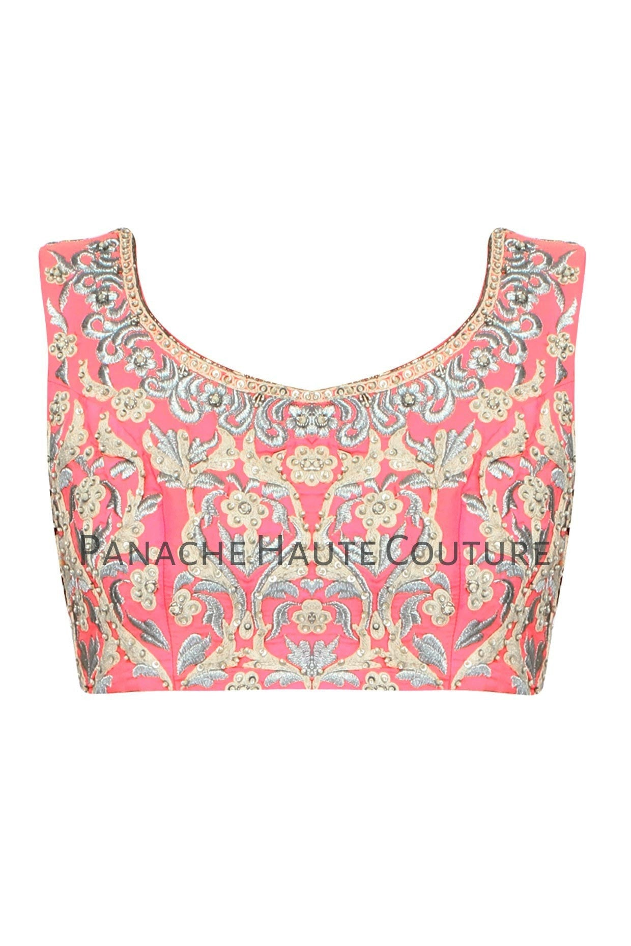 Light coral pink blouse in raw silk