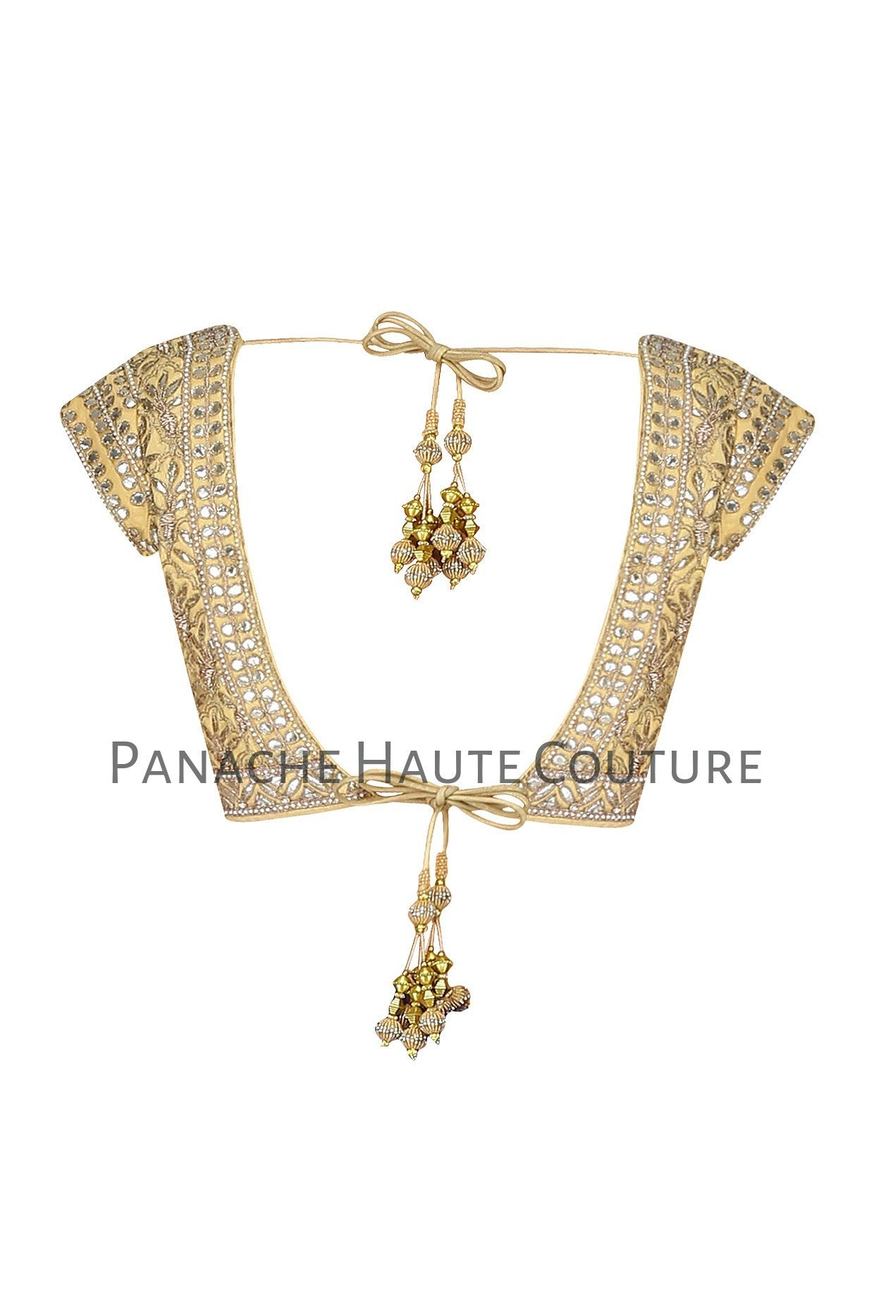 Light Golden Color Blouse with Gotta Patti Embroidery