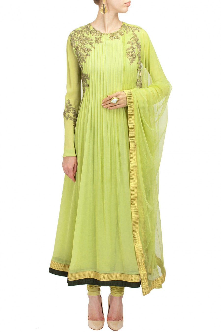 Light green color anarkali suit