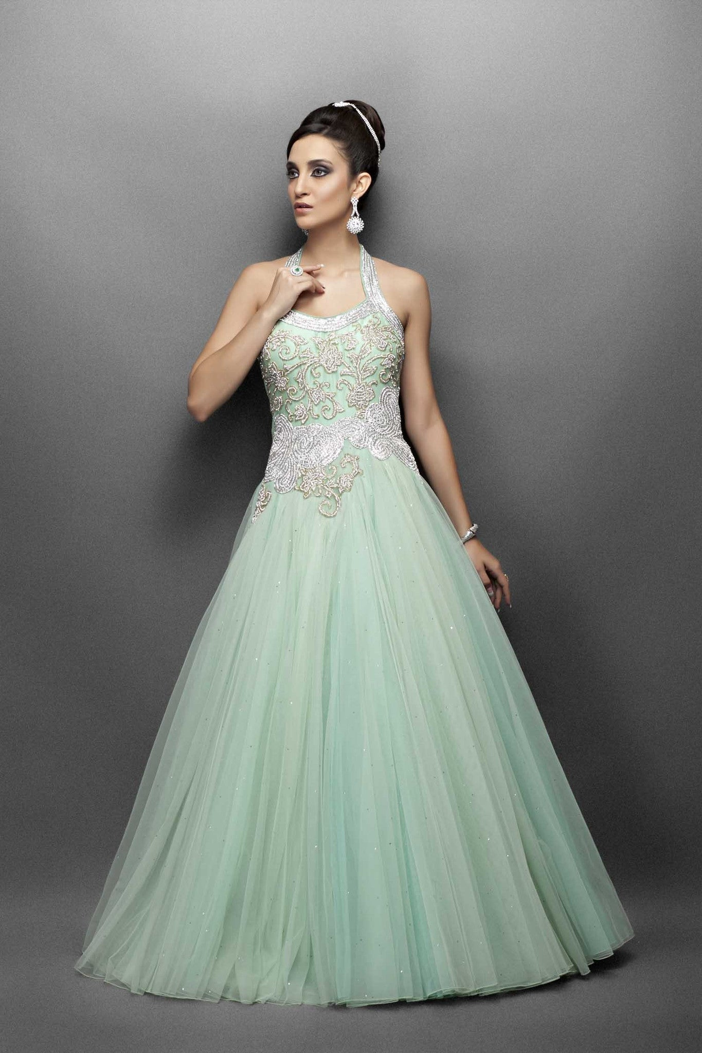 Light green indo western gown JANGW20013 - Western Bridal Gown