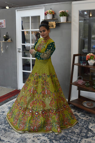 Lime Green Anarkali Gown from Panache Haute Couture 2