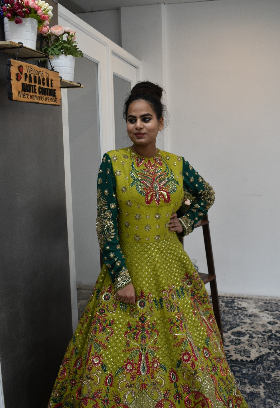 Lime Green Anarkali Gown from Panache Haute Couture