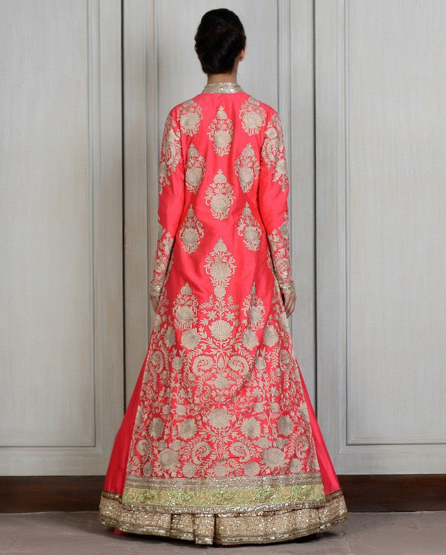 Coral color Long Jacket lehenga