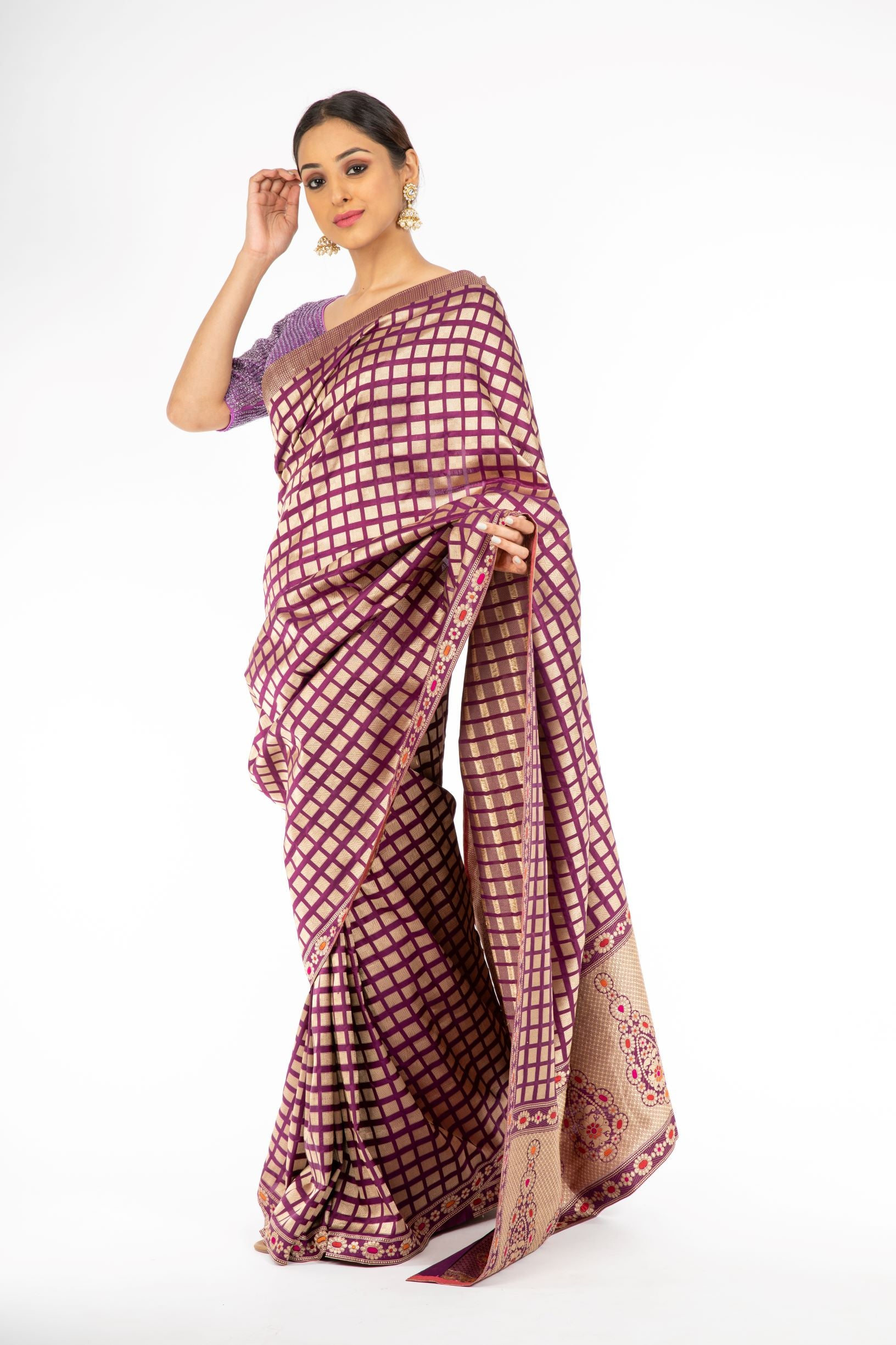 Lovely Violet Color Handloom Pure Silk Saree