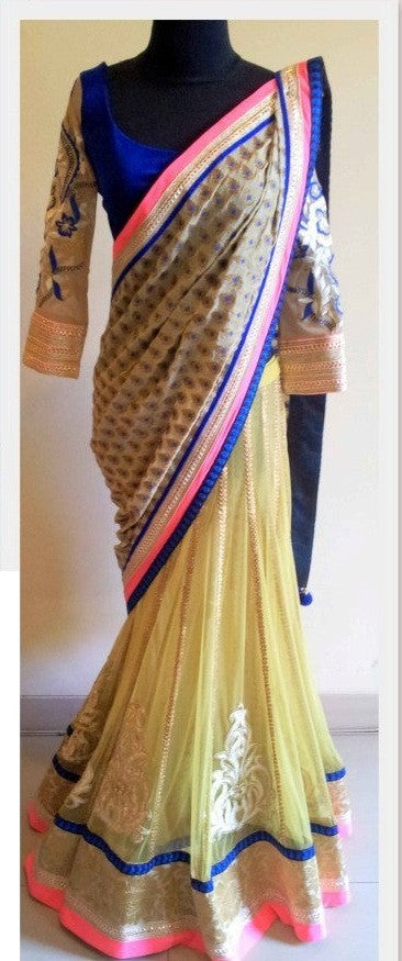 Mughal Insprired Yellow Saree