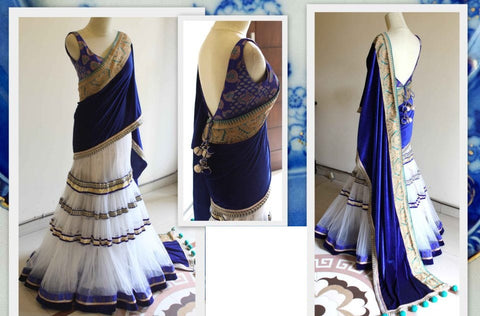 Exclusive blue velvet pallu Lehenga saree