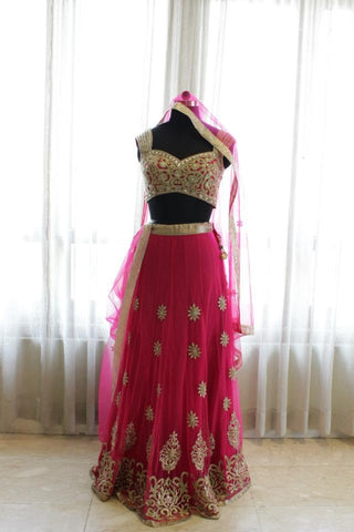 Majenta color bridal lehenga choli