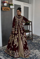 Maroon Color Jacket Lehenga Set from Panache Haute Couture
