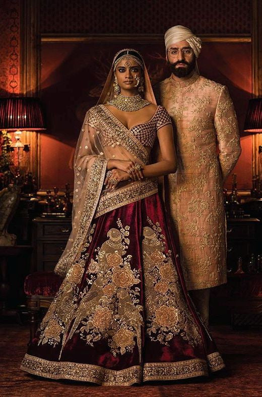 Maroon Color Bridal Lehenga Choli from Sabyasachi Collection
