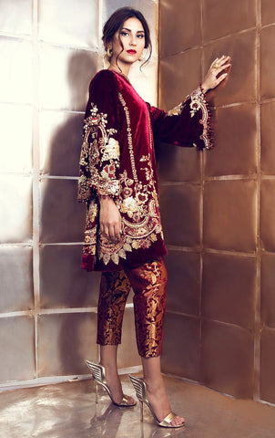 Maroon Velvet Suit with Pakistani Pant