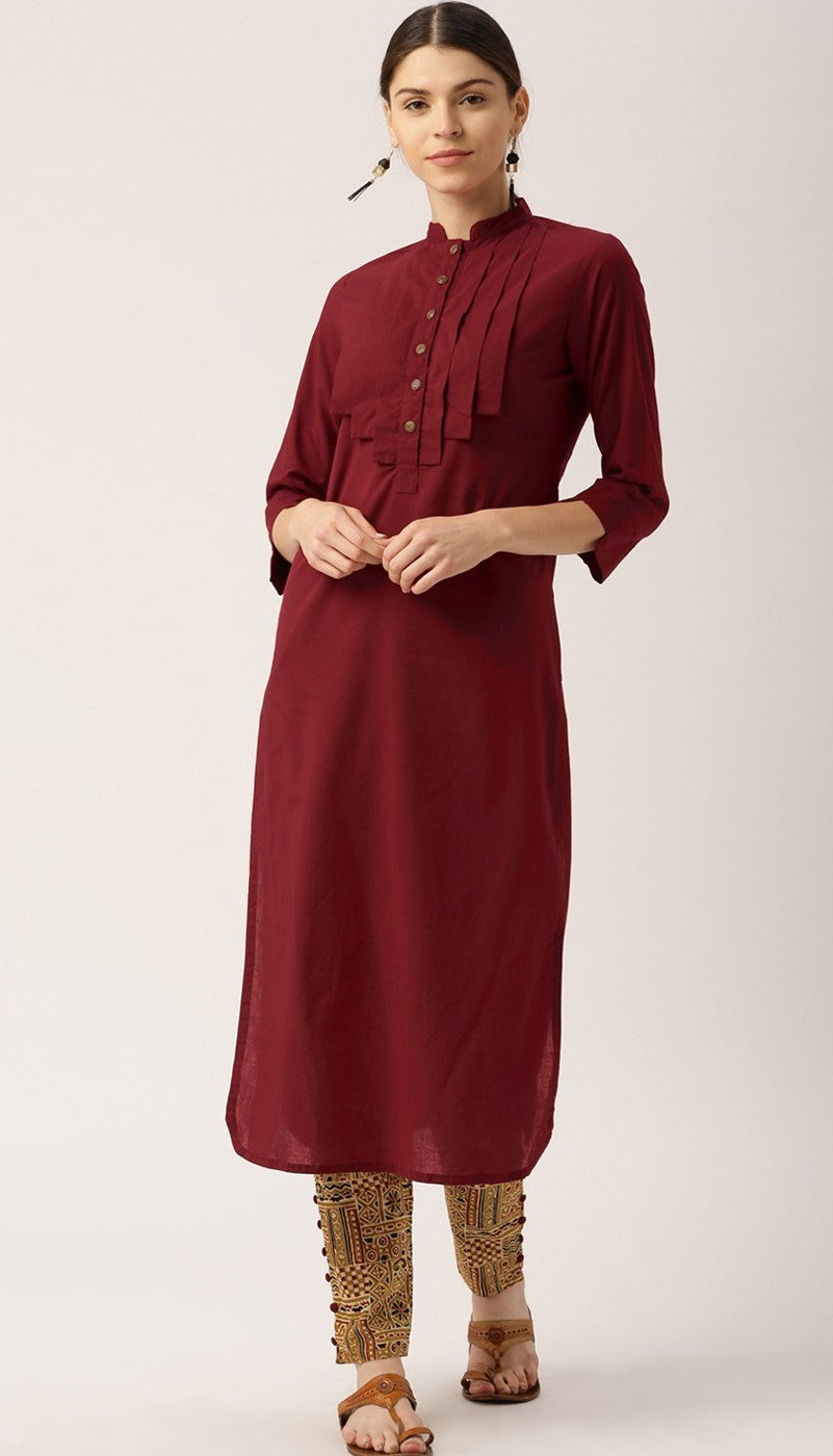Maroon Colour Kurta with Printed Pants in Cotton