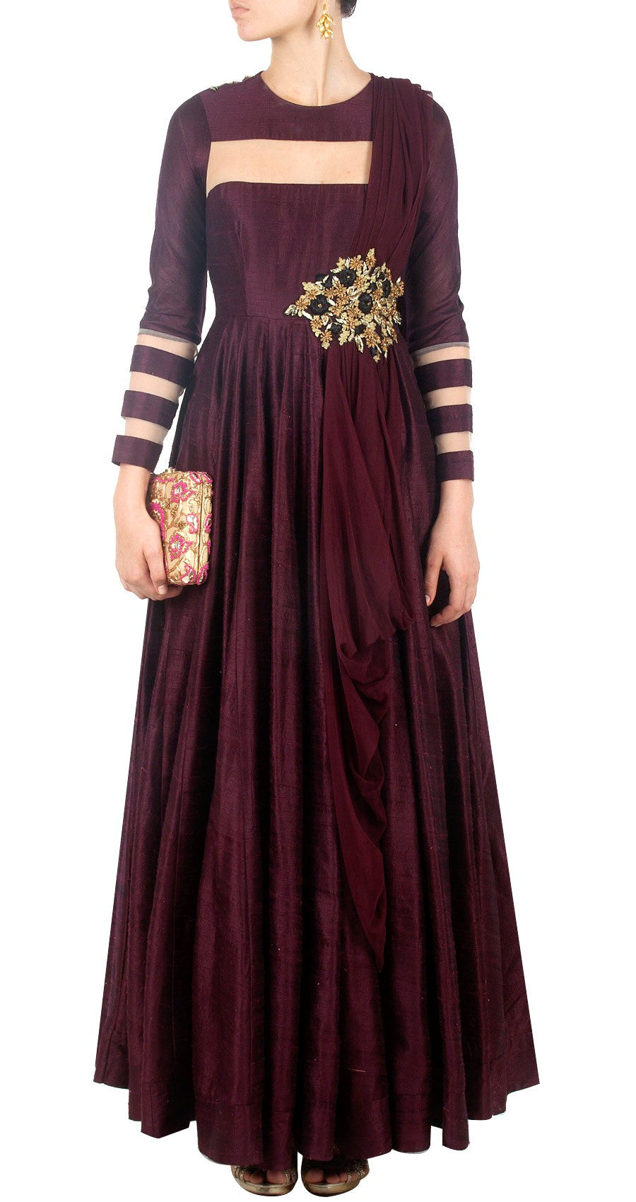 Maroon color long anarkali