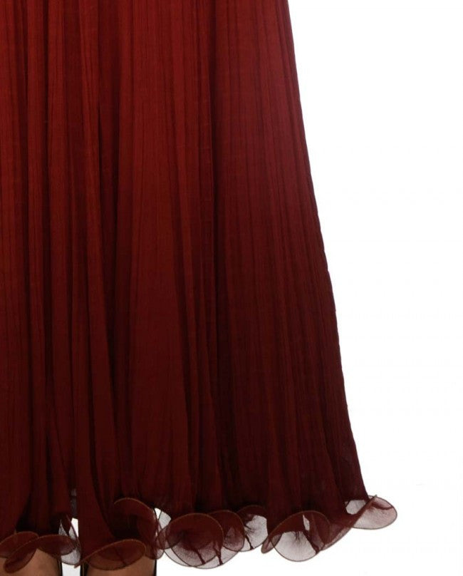 Shaded maroon color frock suit