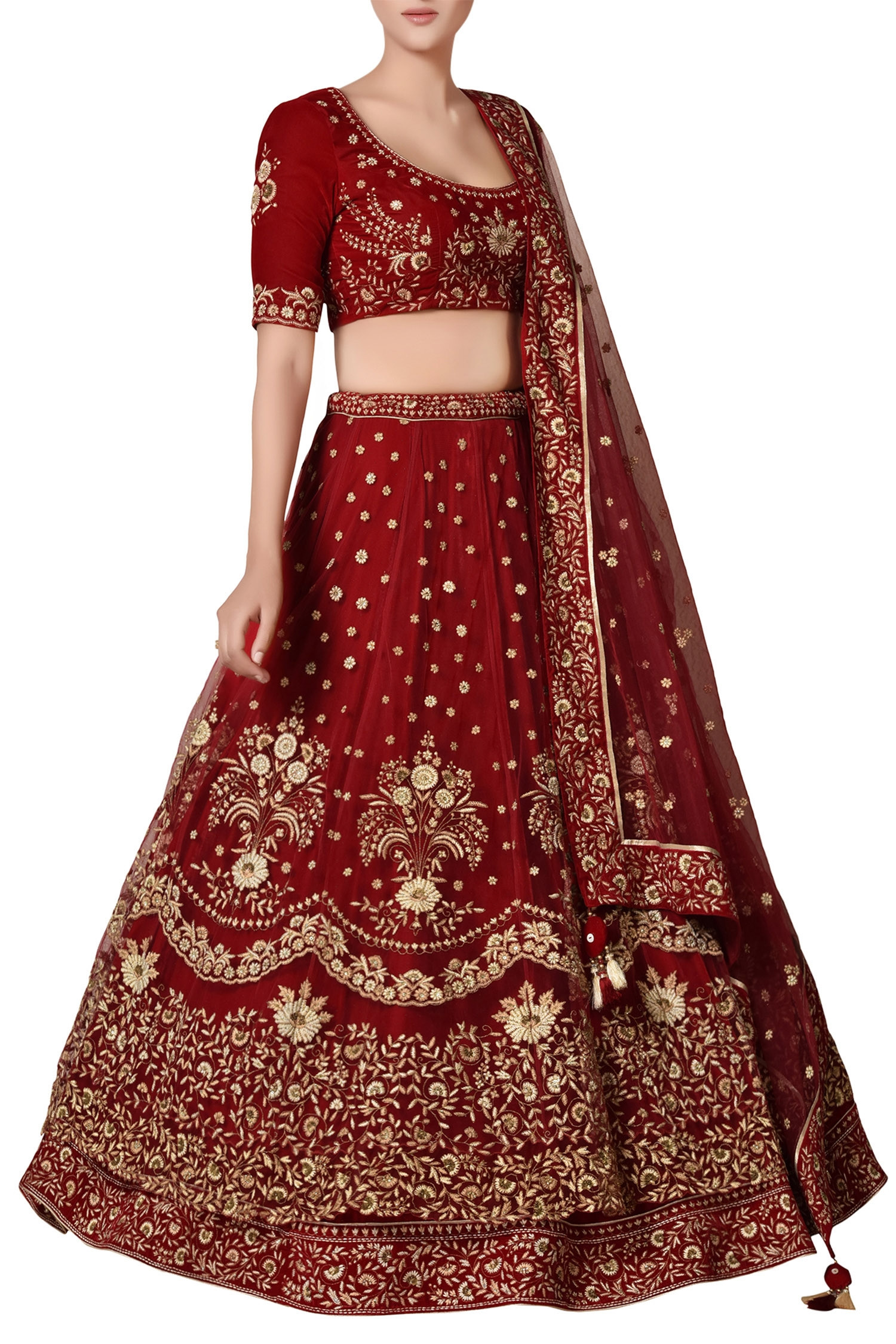 Maroon Colour Wedding Lehenga in Net