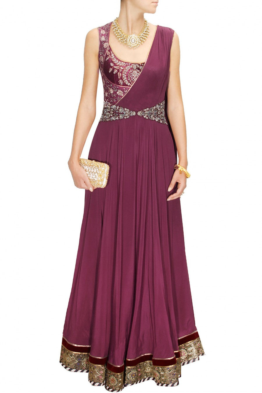 Maroon Embroidered Drape Indo Western Gown Panache Haute Couture