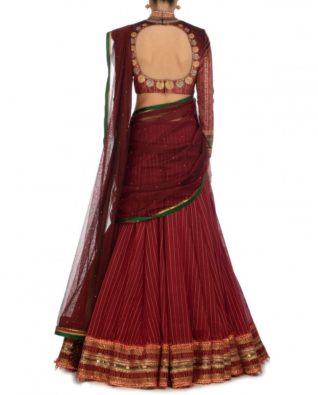 Maroon colour party wear chaniya choli