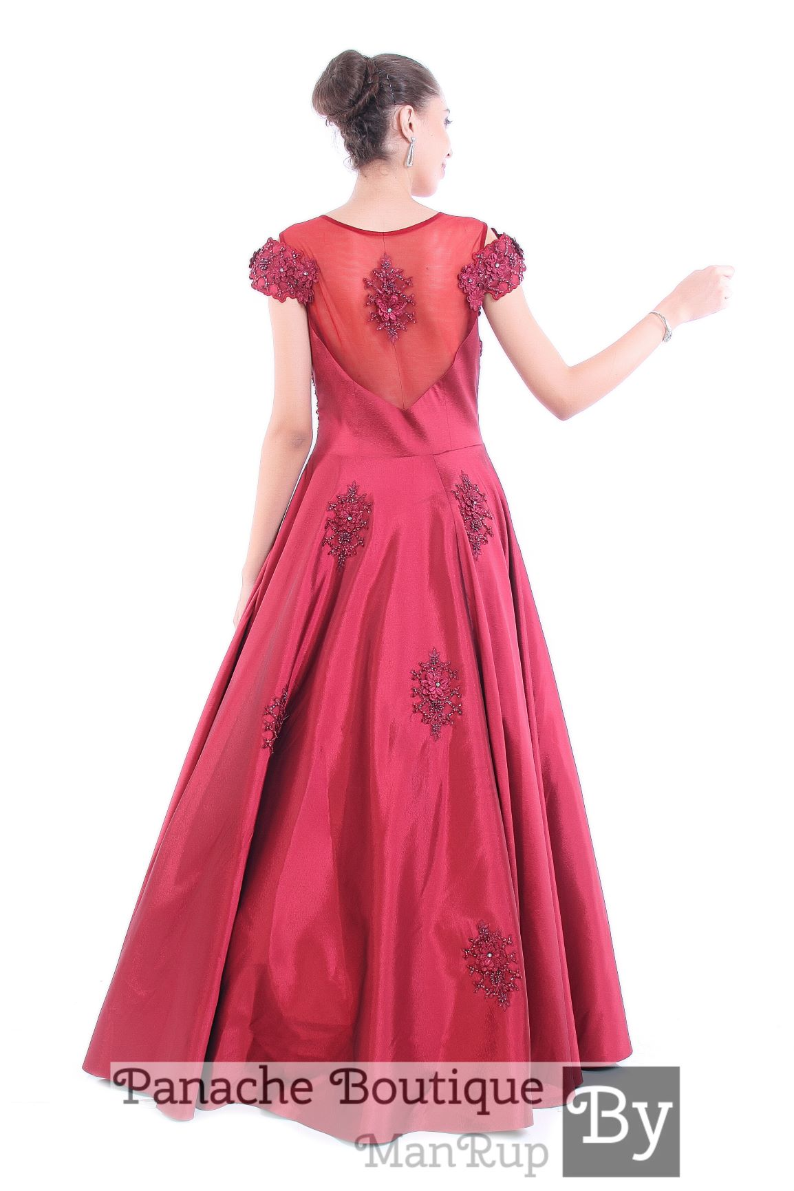 Maroon Colour Indo Western Gown
