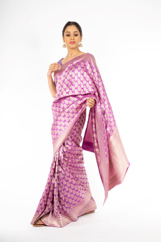 Marvelous Lavender Color Handloom Saree