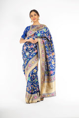 Marvelous Royal Blue Handloom Saree with Minakari Butta Kadwa Weaving