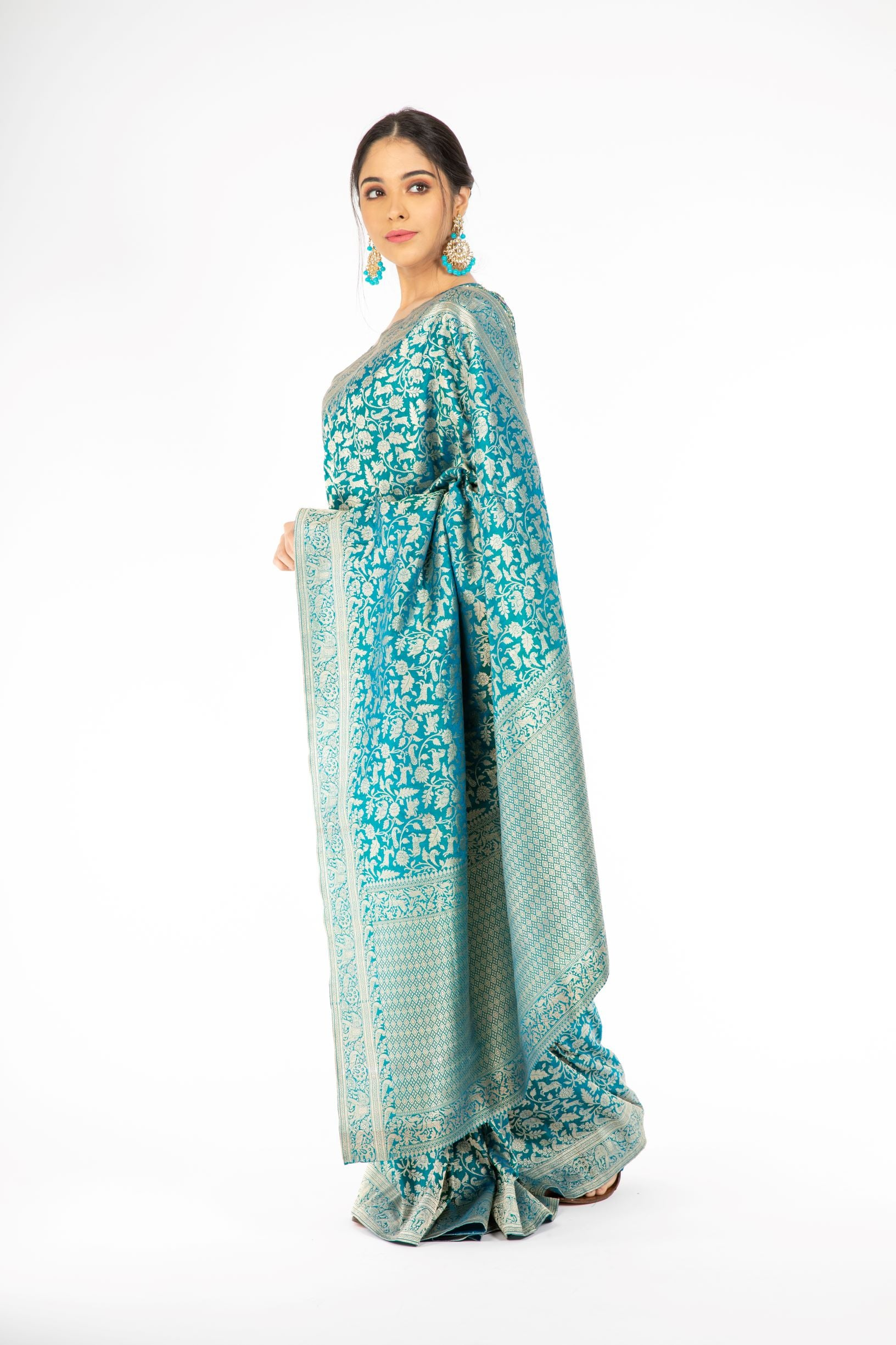 Marvelous Peacock Blue Handloom Banarasi Saree