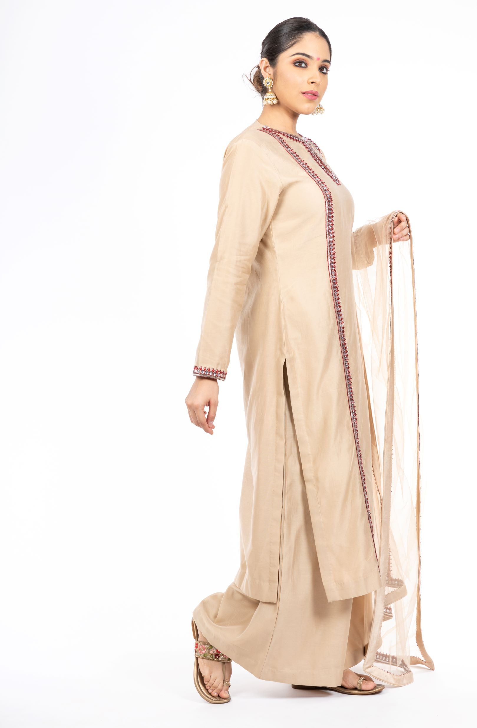 Mesmerizing Beige Color Chanderi Silk Palazzo set
