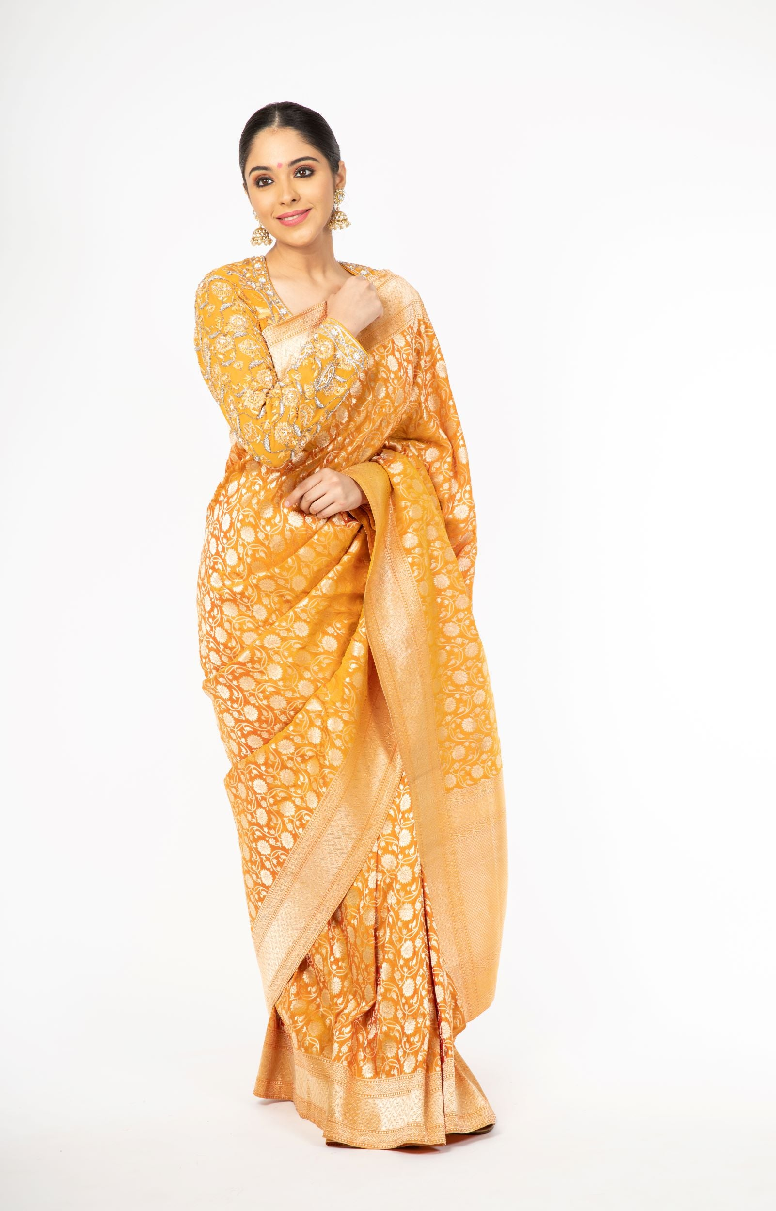 Mesmerizing Mustard Yellow Handloom Pure Silk Saree